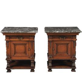 Antieke kasten / stel van 2 zware nachtkastjes met grijs geaderd marmer notenhout ca. 1870 - links- en rechtsdraaiend.  (No-302044)
