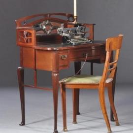 Antiek bureau / Hollands Art Noveau damesbureau in mahonie , met leer ingelegd en geslepen spiegeltjes ca. 1910 (No812062)