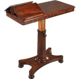 Antieke bijzettafels / Engelse ontbijttafel / sidetable / dubbele-lezenaar ca. 1860 mahonie (No.361121))