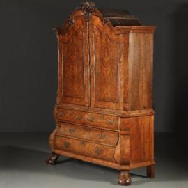 Antieke kasten / Hollands Rococo Kabinet ca. 1755 in afzeliawortel (No.393015)