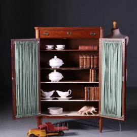 Antieke kasten / Lodewijk 16e boekenkastje met stof en gaas (uitneembaar) ca. 1800 in mahonie (No.542449)
