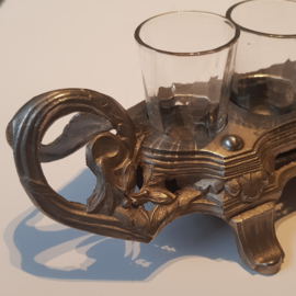 Antiek varia / 6 borrelglazen of shotglazen in feestelijke metalen houder ca. 1900 Frankrijk (No.370771)