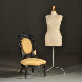 Antieke stoelen / Salonstoel in zwart gepolitoerd mahonie Willem III ca. 1875 (No.380960)*