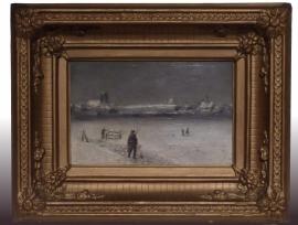 Antiek paneel eind 19e eeuw, Haagse school, 24 X 15 cm. (No9571)