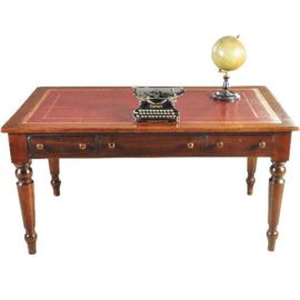 Antieke bureaus / Schrijftafel ca. 1875 Engels met goud gerand  rood leer ingelegd (No.182951)