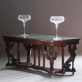 Antieke tafels / Kapitale Empire stijl bibliotheektafel / schrijftafel ca. 1920 met vier gevleugelde vrouwelijke Sfinxen marmer blad (No.572235)