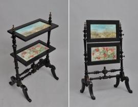 Antiek haardscherm / Etagère tafel met beschilderde panelen achter glas ca. 1875 (No.474304)