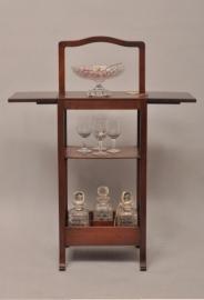 Antieke bijzettafels / Art Deco Stommeknecht met vakvrdeling voor 6 flessen en 2 handige... (No473921XAQ)