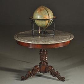 Antieke tafels / Ronde tafel met grijs geaderd marmer blad ca. 1820 Hollands (No.380963)