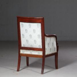 Antieke stoelen / Stel van 2 empire Bergères, 2e periode, mahonie met blauw velours (No.602118)