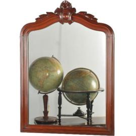 Antieke spiegels / Franse mahonie kapspiegel ca. 1880 met kleine kuif (No.200260)