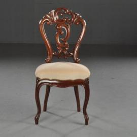 Antieke stoelen / 6 zware mahonie Willem III eetkamerstoelen ca. 1875 met crèmekleurige Velours (No.451954)