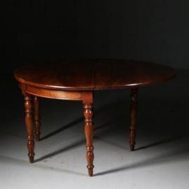 Antieke tafels / Ronde kersenhouten eetkamertafel inklapbaar tot sidetable ca. 1850 Frankrijk (No.552843)