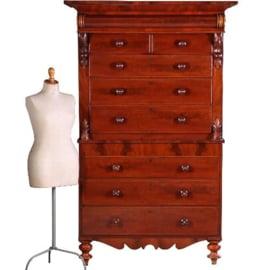 Antieke kasten / Zeer hoge ladenkast 2,2 m hg / chest on chest / tallboy ca. 1850 mahonie (No.542446)