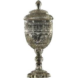 Antiek varia / Grote geslepen kristallen deksel-coupe gedateerd 1837 (No.998366)