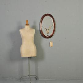 Antieke Spiegels / Engelse ovale houten lijst met facet geslepen spiegel ca. 1910 (No-014899)