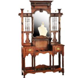 Antiek varia / Grote staande kapstok / Porte manteau in mahonie ca. 1880 met laden en spiegel (No.192344)