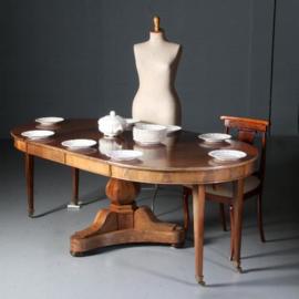 Antieke bijzettafels / Eetkamertafel / Ronde blonde mahonie coulissenttafel biedermeier ca. 1830 met glasplaat (No.581658)
