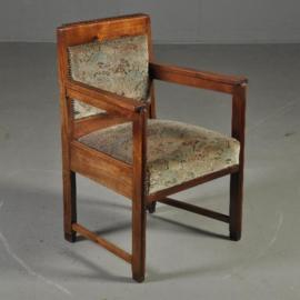 Antieke stoelen / Stel van 2 art deco armstoelen / bureaustoelen incl. herstoffering naar wens (No. 221841)