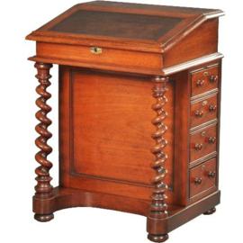 Antieke bureaus / Engelse mahonie davenport ca. 1875 met leer ingelegd (No.501932)