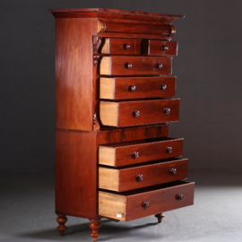 Antieke kasten / Zeer hoge ladenkast 2,2 m hg / chest on chest / tallboy ca. 1850 mahonie (No.542446)