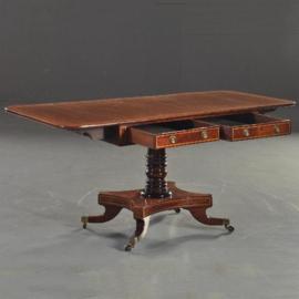 Antieke bijzettafels / Schrijftafels / Mahonie pembroke table ca. 1850 met 2 laden. (No.272156)