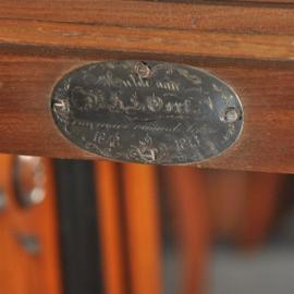 Antieke kasten / Breakfront Bibliotheekkast Willem III gesigneerd Horrix gedateerd 1873 op zilveren medaillon (No.380952)
