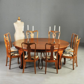 Antieke tafels /Reusachtige ovale eetkamertafel ca. 1910 voor 8 personen massief mahonie (No.320862)