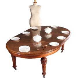 Antieke tafels / Wind out Coulissentafel in mahonie ca. 1850 in een mooie oude kleur met 2 inlegbladen (No.640854)