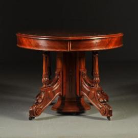 Antieke tafels / Coulissentafel ca. 1875 met centrale splitspoten  inlegbladen op  patroon (No-341628)