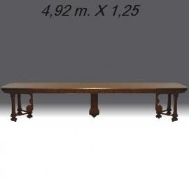 Antiek tafels / Majestueuze gerestaureerde antieke Franse coulissentafel ca. 1875 tot 3.92 m. lengte (No753201)