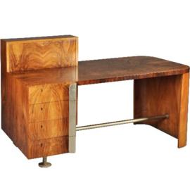 Antieke bureaus / uitzonderlijk fraai art deco bureau in wortelnoten en palissander (No-341951)