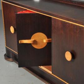 Antieke kasten / Dressoir met bar achter de middelste deur ca. 1955 palissander en wenge (No.451943)