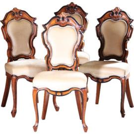 Antieke stoelen / Stel van 4 Willem III stoelen gesigneerd Horrix ca. 1875 (No.580252)
