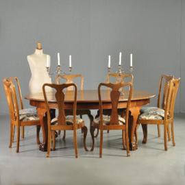 Antieke stoelen / Stel van 12 eetkamerstoelen ca. 1910 Chippendale stijl incl. herstofferen naar wens (No.320863)