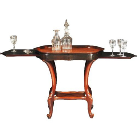 Antieke bijzettafels /  Hollandse Willem III wandtafel / theetafel ca. 1875 Gemerkt Horrix  (No-340112)