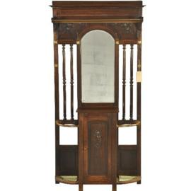 Antiek varia / Staande kapstok / Porte manteau in eiken ca. 1880 met kastje en spiegel (No.210851)