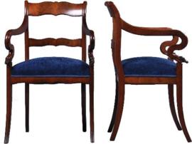 Antieke armstoelen / Stel van 2 Hollandse Biedermeier armstoelen / bureaustoelen ca. 1825 (No941151)