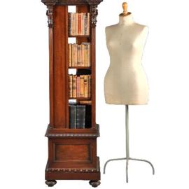 Antieke bijzettafels /  Boekenmolen ca. 1890 in notenhouten vier verdiepingen.  (No.411555)