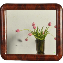 """Antieke spiegels / Franse spiegel in bloemmahonie lijst ca. 1840 geschikt voor """"rechtop of dwars"""" (No-961654)"""