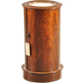Antiek bijzettafels / Cilindrisch nachtkastje of tóch een barmeubel ca. 1825 mahonie (No.210855)