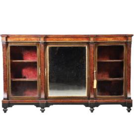 Antieke kasten / Victoriaanse credenza ca. 1875 zwart gepolitoerd met noten accenten,  1 spiegeldeur en 2 vitrinedeuren (No.430621)