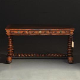 Antieke bureaus / 18e eeuwse  schrijftafel in Palissander met leer en 3 laden (No.240641)