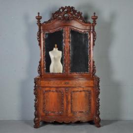 Antieke kasten / Kapitaal gestoken bonheur du jour Hollands ca. 1860 in mahonie (No.421132)