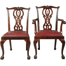 Antieke stoelen / Stel van 14 zware mahonie stoelen waarvan 2 met armleuningen ca. 1890 in roodbruinleer(No.520522)