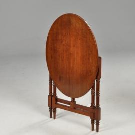 """Antieke bijzettafels /  kleine salontafel Engels ovale opklapbaar ca. 1920 als een  """"flap aan de wand"""" (No532506)"""
