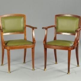 Antieke stoelen / stel van 2 art deo bureaustoelen / armstoelen Portois und Fix ca. 1900 (No781461)
