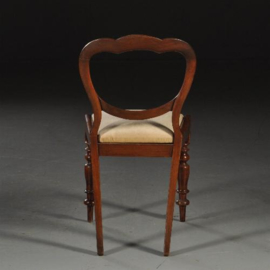 Antieke stoelen / Stel van 4 Victoriaanse eetkamerstoelen ca. 1850 in  mahonie met velours   (No.450219)