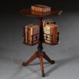 Antieke bijzettafels / wijntafels / 8-kantige boekenmolen in noten met ebbenhout ca. 1885 draaibaar (No.542441)