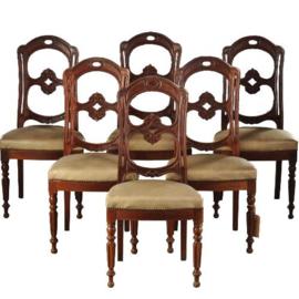 Antieke stoelen / Stel van 6 Franse eetkamerstoelen ca. 1875 in mahonie incl. herstoffering naar wens (No-160328)